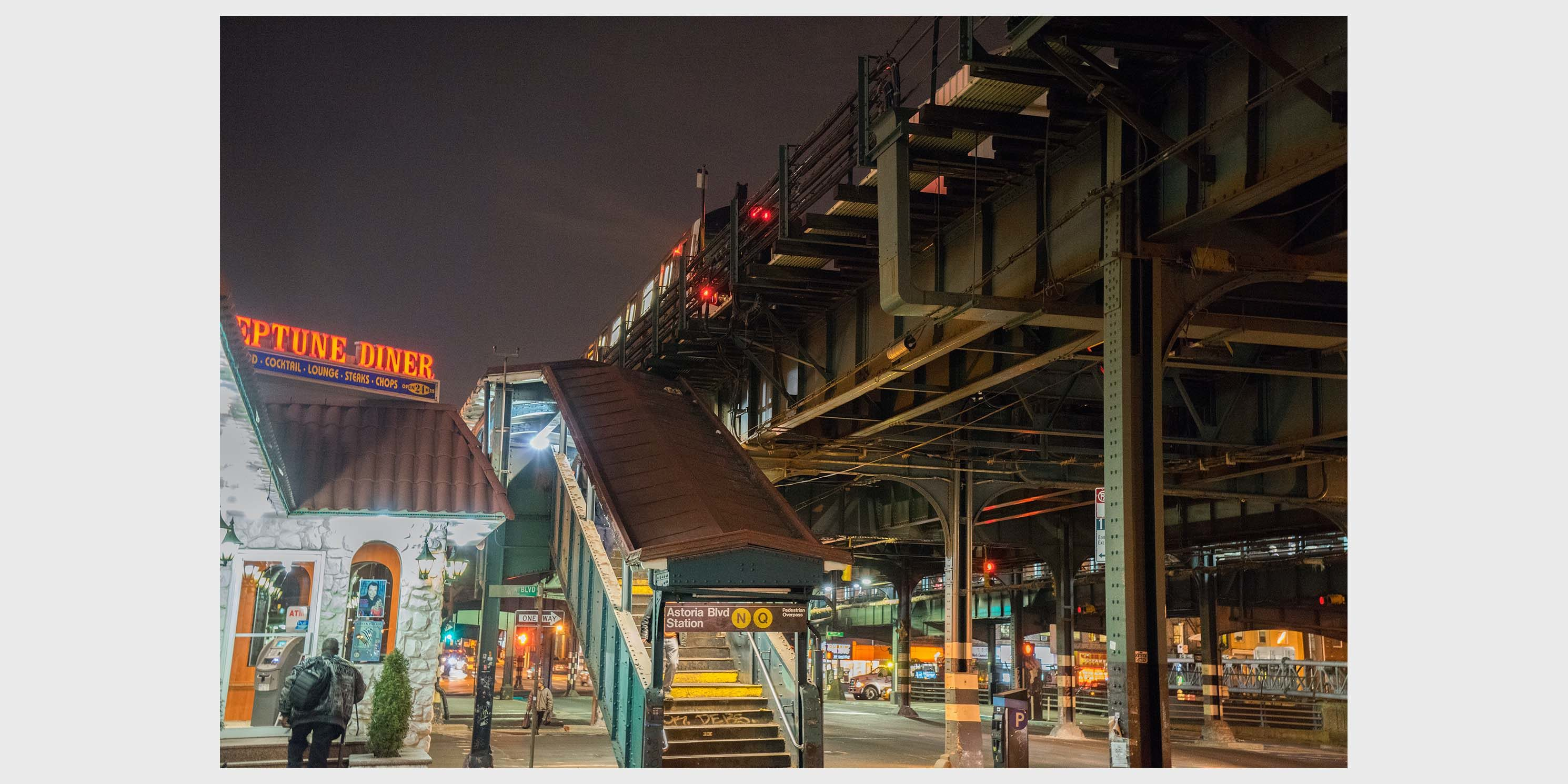 stairway to the elevated Astoria Blvd Station in Queens