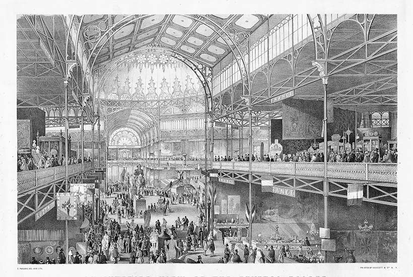 illustration of the Crystal Palace and indoor pavilion