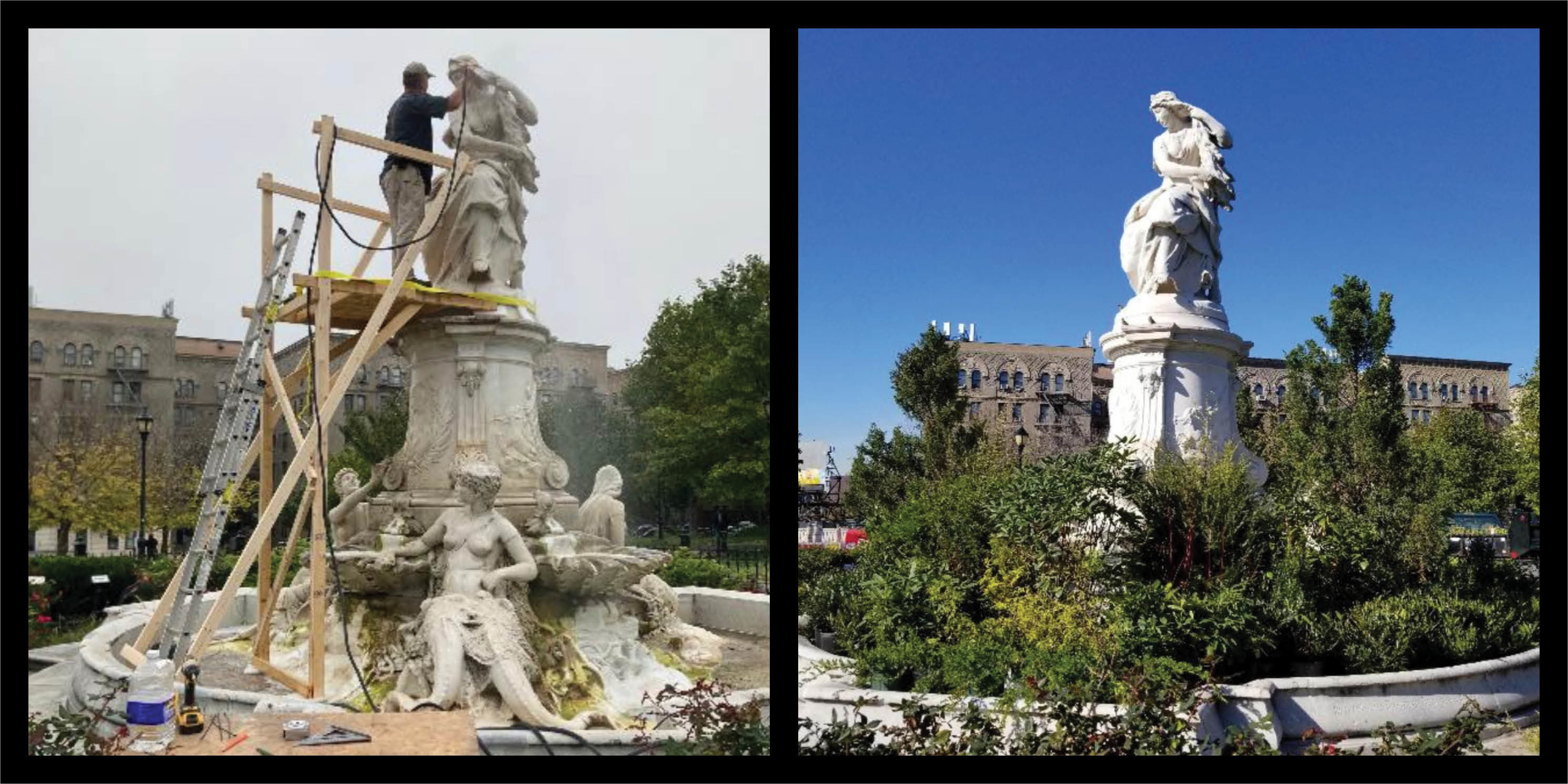 Before and after photos of the Die Lorelei Monument restoration