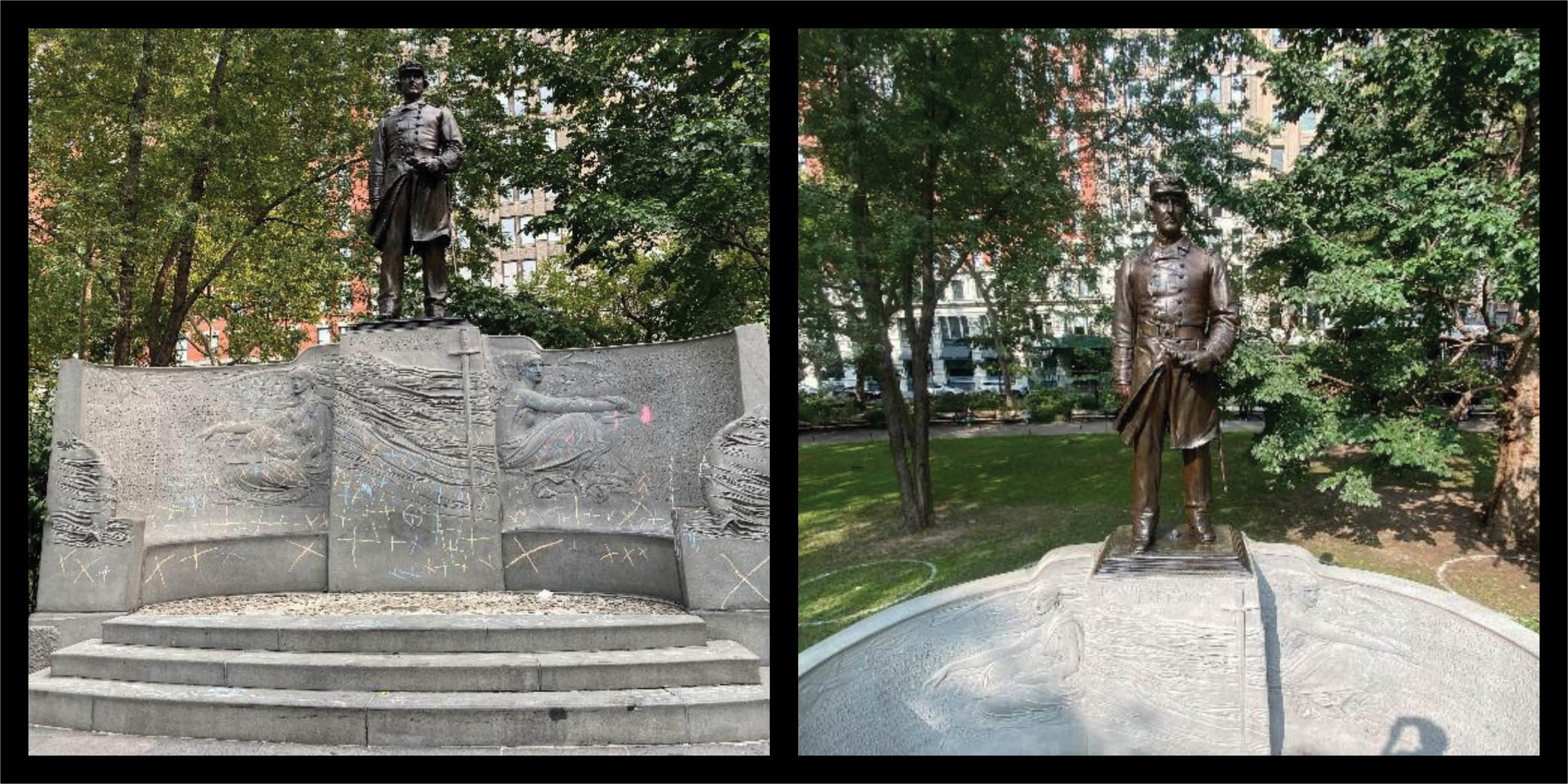 before and after restoration photos of the Farragut monument