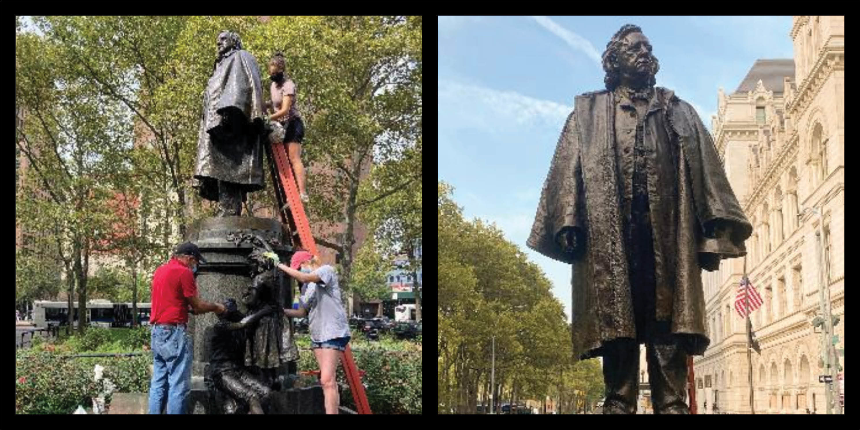 Before and after photos of the Henry Ward Beecher monument