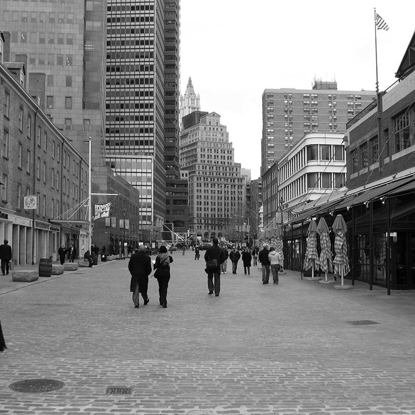 Schermerhorn Row, a cobblestone street at South Street Seaport