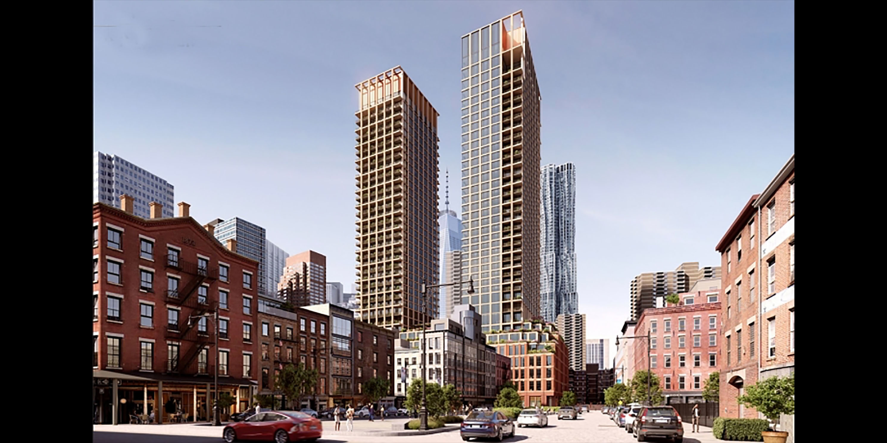 rendering of a proposed design for 250 Water Street in Manhattan